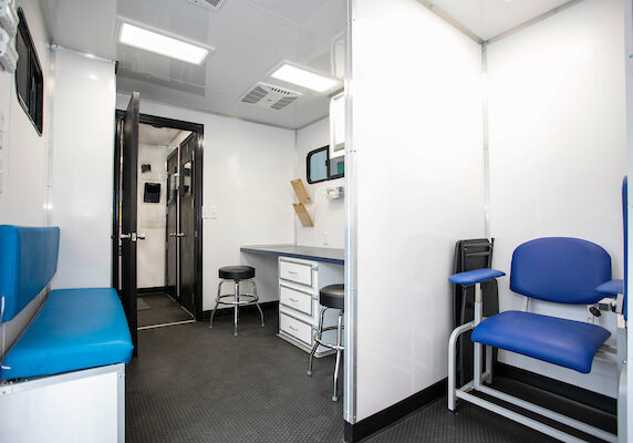 Inside buildout of a mobile exam unit